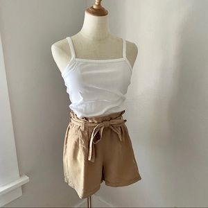 Stradivarius Tan Paper Bag High waisted Shorts